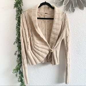 Free People oatmeal color open knit sweater